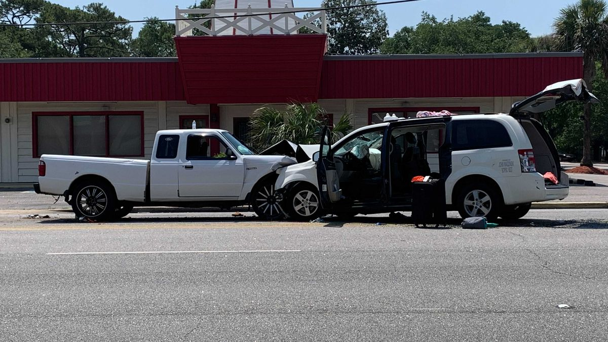 Two vehicles were involved in a crash Friday on Kings Highway in Myrtle Beach.