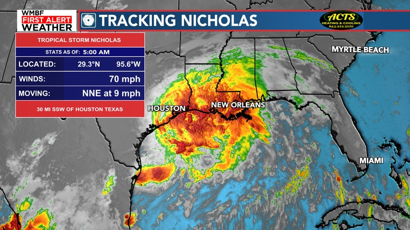 Tropical Storm Nicholas continues to slowly move this morning.
