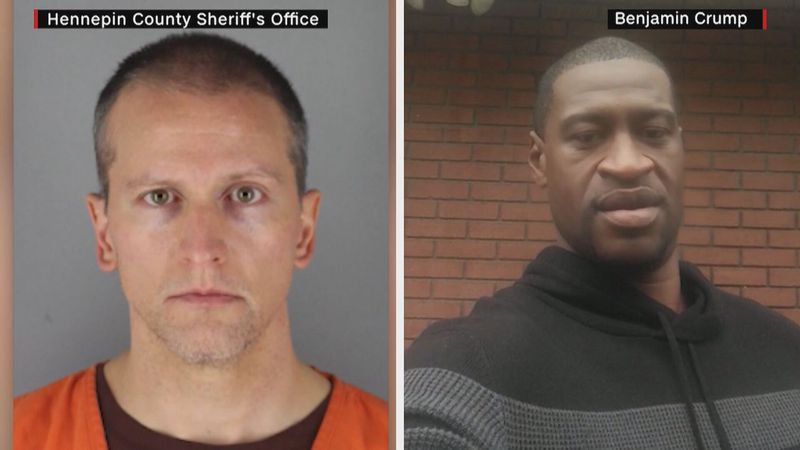 Derek Chauvin, left, found guilty on all charges in the death of George Floyd, right