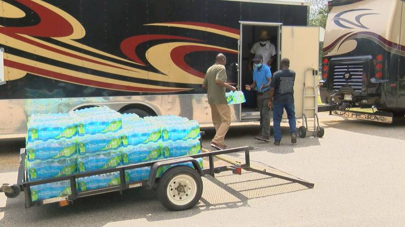 Bucksport residents loaded up a trailer with supplies Wednesday.