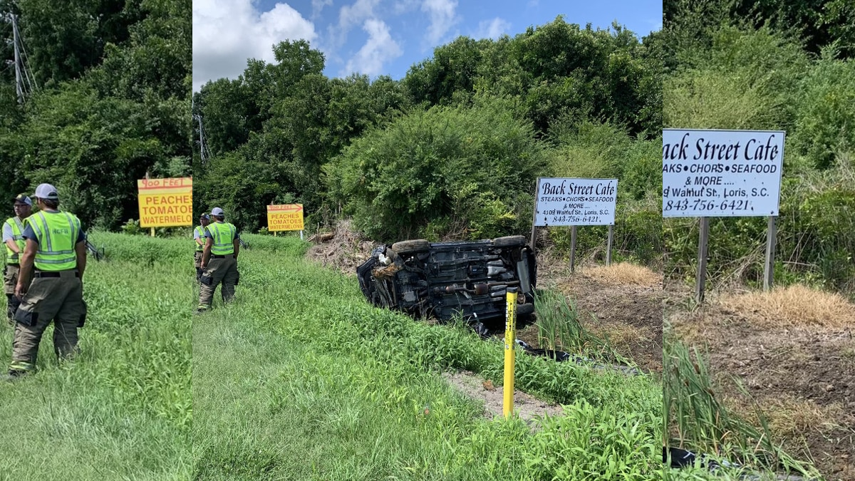 A two-vehicle crash left four people hurt in Longs on Saturday, officials said.