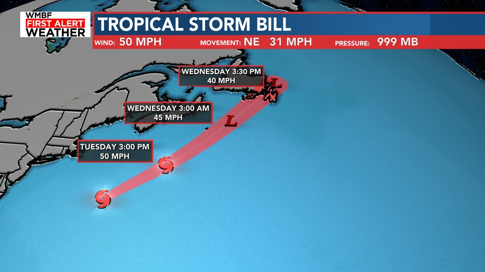 Bill is expected to weakening overnight and into Wednesday morning.
