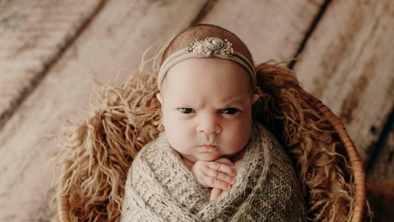 "Baby girl's ""mean mug"""