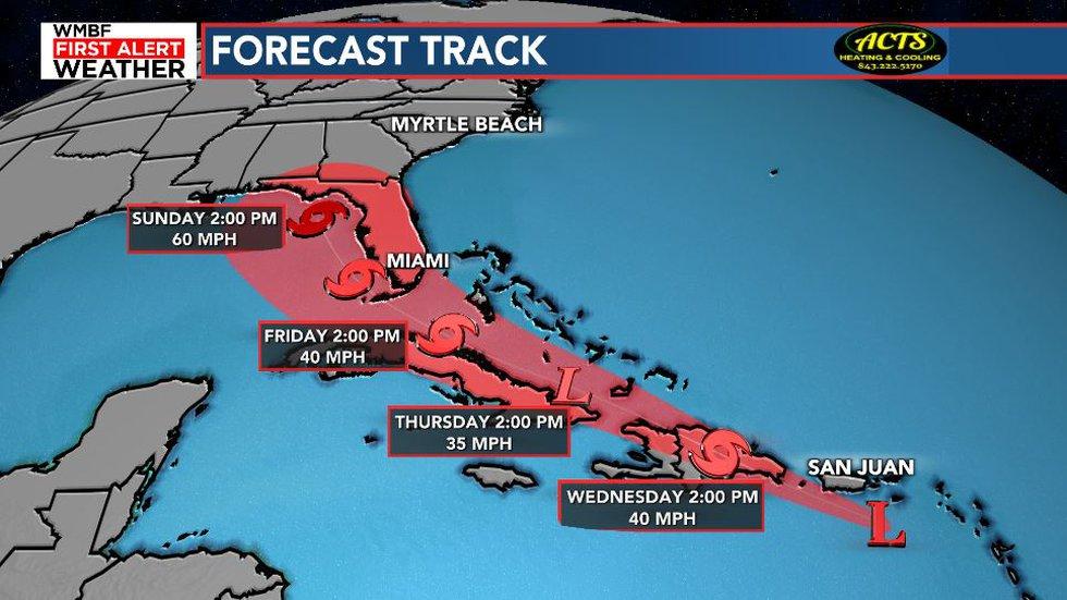 Latest forecast track.