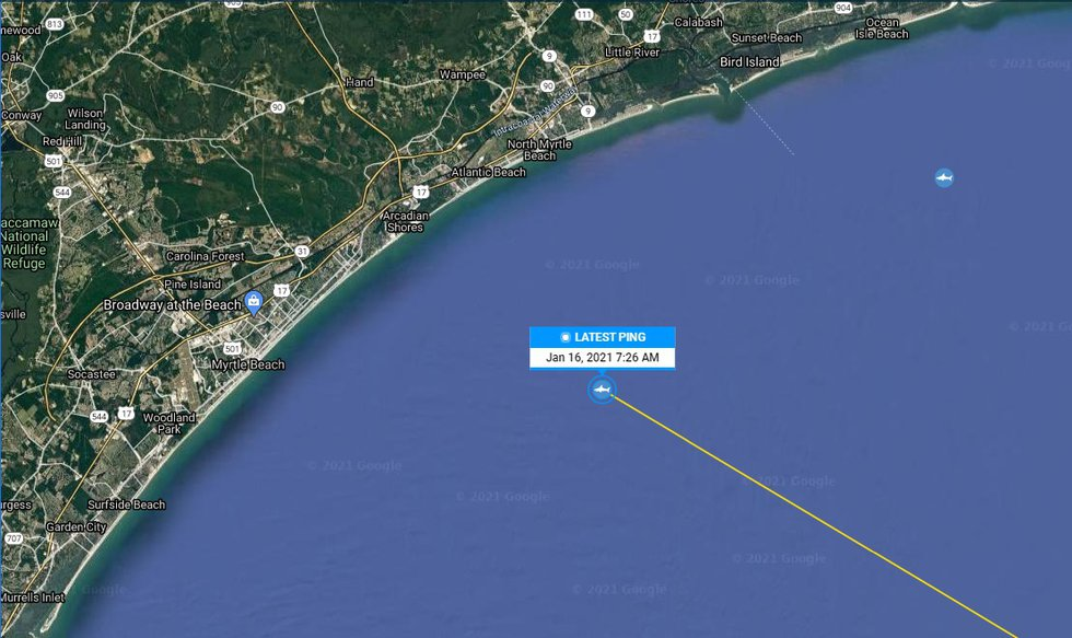 Mahone recently pinged off the coast of Myrtle Beach.