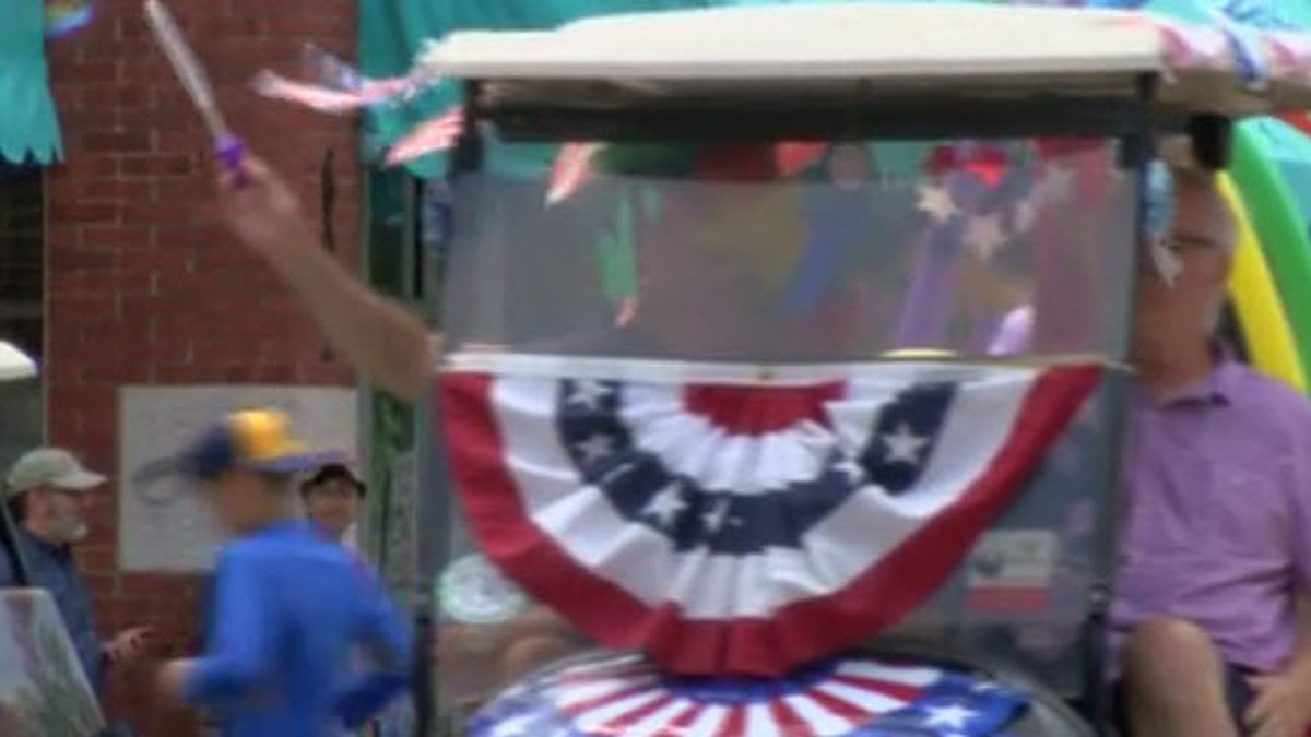New Harmony puts its own spin on celebrating with the town's annual golf cart parade.