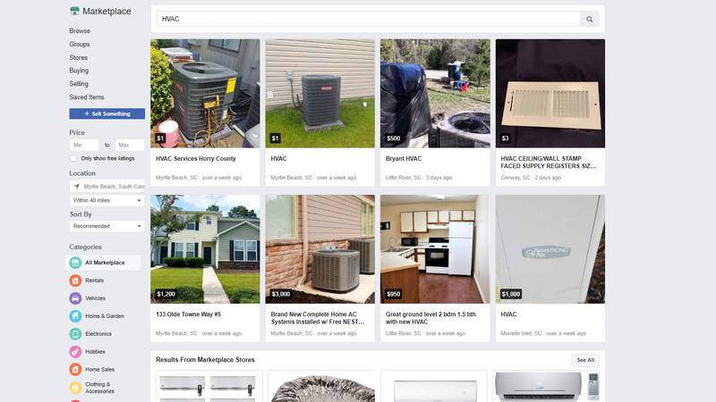Some Horry County customers said they were searching for HVAC installation on Facebook...