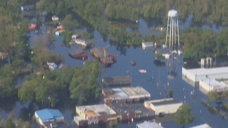 Here's an aerial shot of Nichols, SC, showing flood waters left by Hurricane Florence.