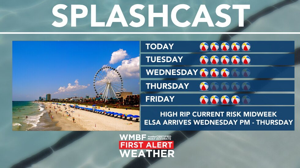 Rain chances increase especially for Wednesday and Thursday due to Elsa.