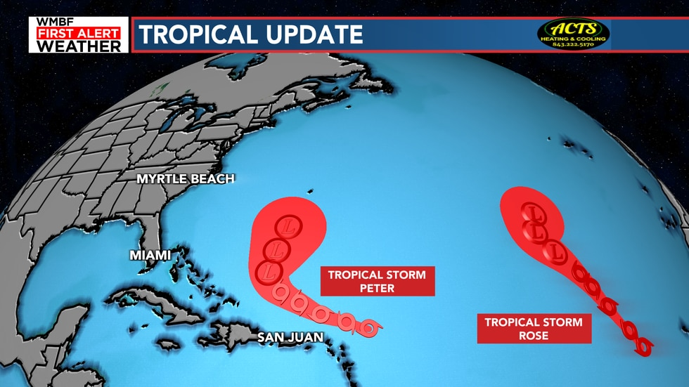 Tropical Storm Peter and Rose continue to remain offshore.