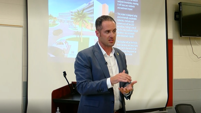 Conway Medical Center CFO Brian Argo presents details about a proposed Carolina Forest hospital...