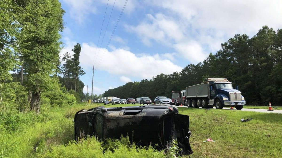 A vehicle overturned Monday on U.S. 501 in Galivants Ferry.