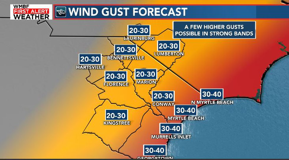 Wind gusts of 30-40 mph are possible.