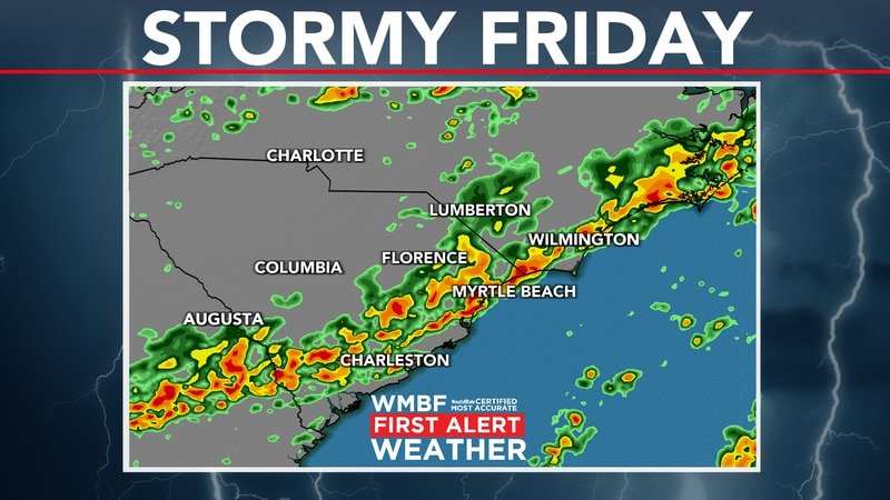 Widespread storms return ahead of the cold front to end the work week.