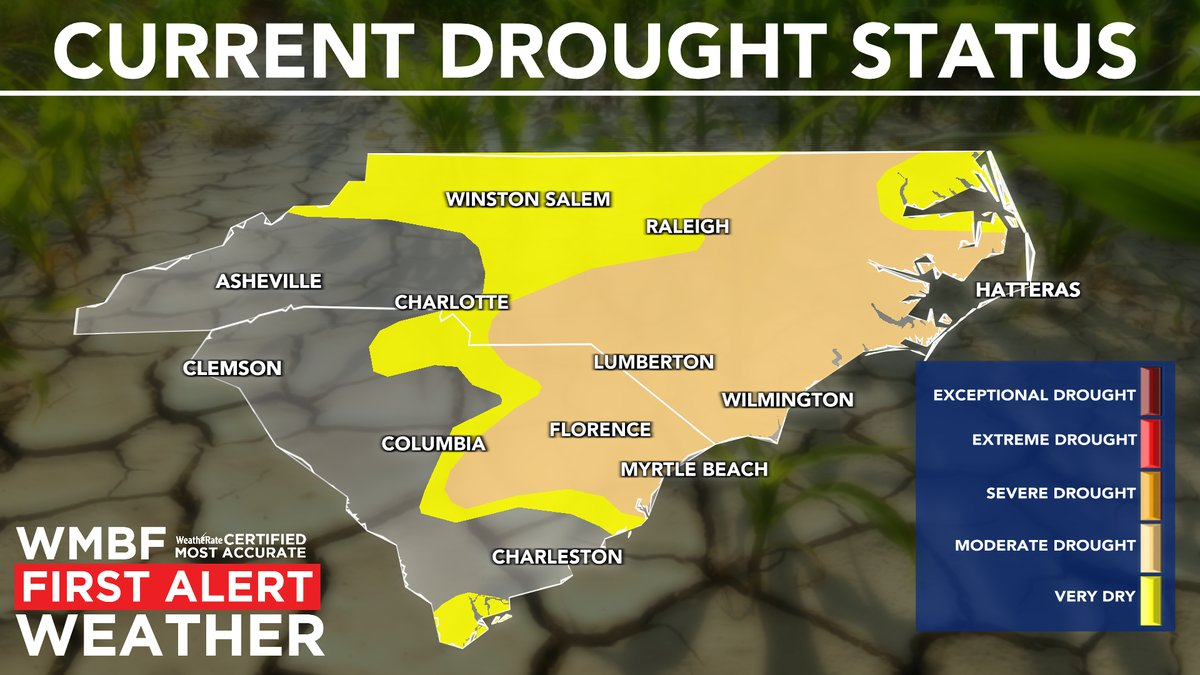 There's an increase in the moderate drought category for the Carolinas.