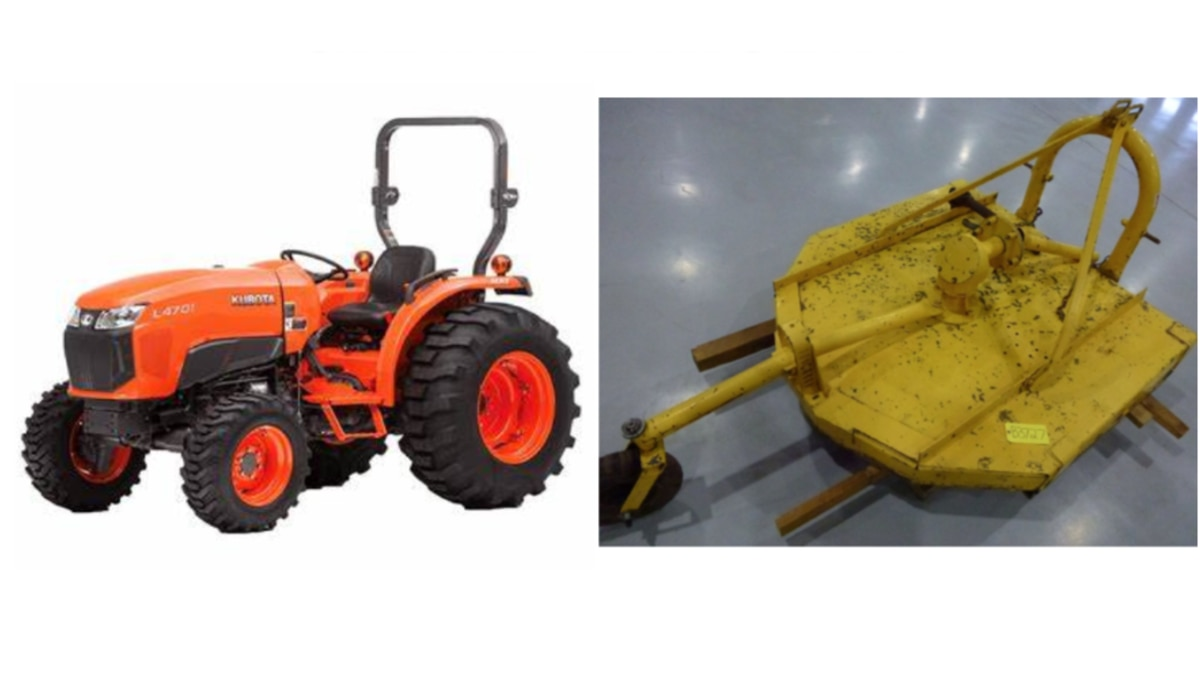 Authorities are searching for a tractor similar to the one seen here, and a bush hog that were...