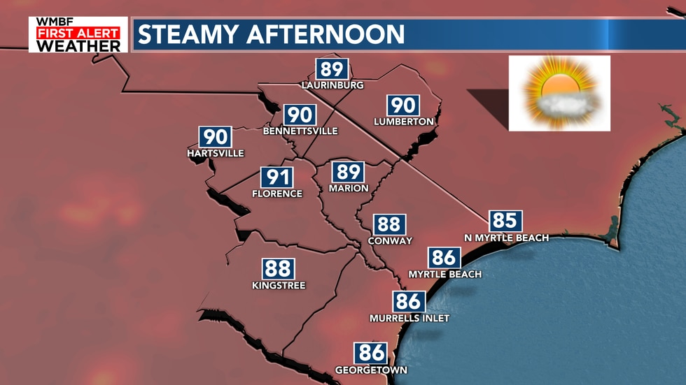 Highs will reach the mid 80s to lower 90s with heat index values in the middle 90s.