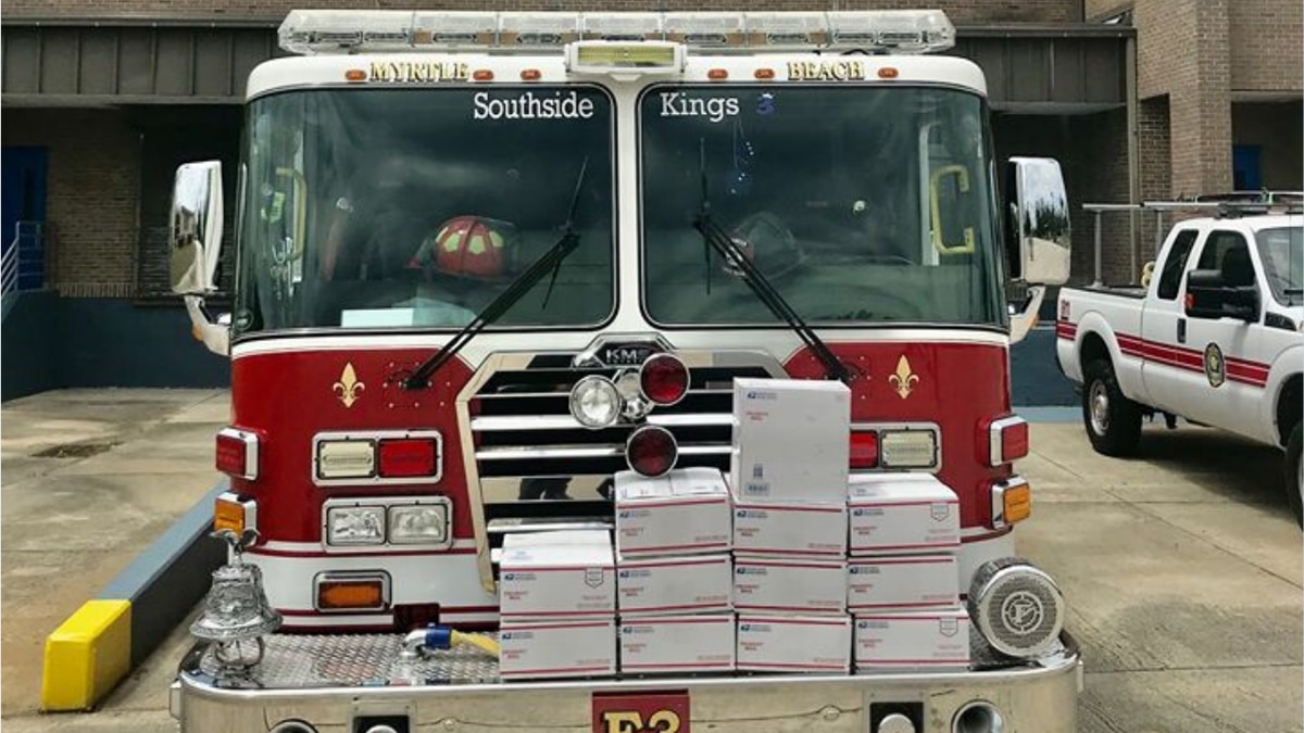 Myrtle Beach Fire Department put together care packages for two fellow firefighters who are...