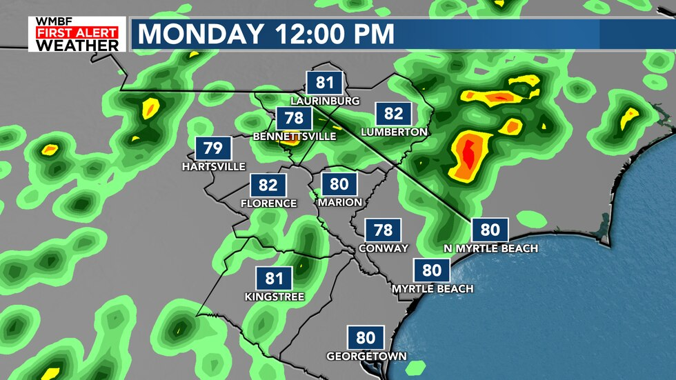 Scattered showers and storms return today with a 30% chance of rain on the beaches and 40%...