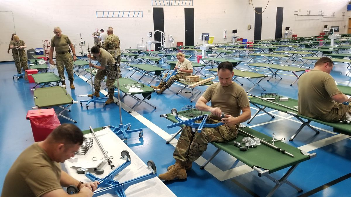 The South Carolina State Guard is helping to convert a MUSC fitness center into a 250-bed field...