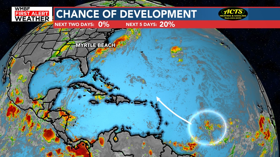 The second chance of development is a wave moving to the northwest. The chances remain low at...
