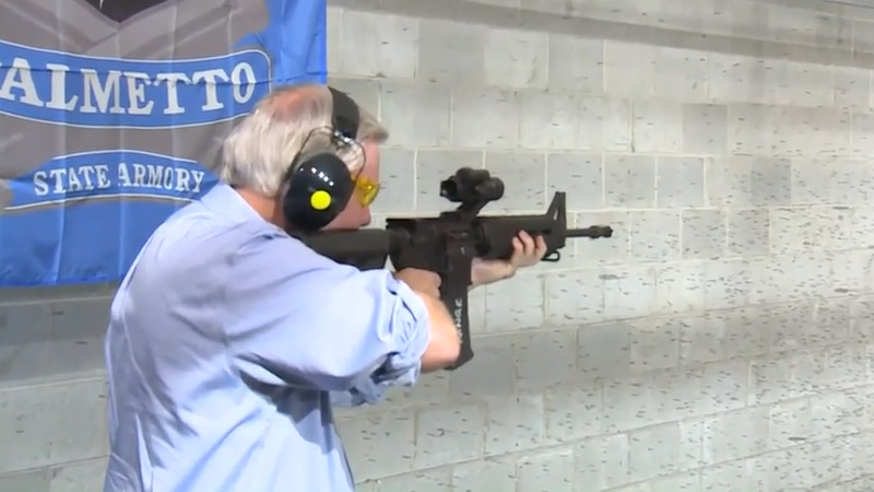 Sen. Graham fired off several practice rounds at the indoor shooting range and spoke about his...