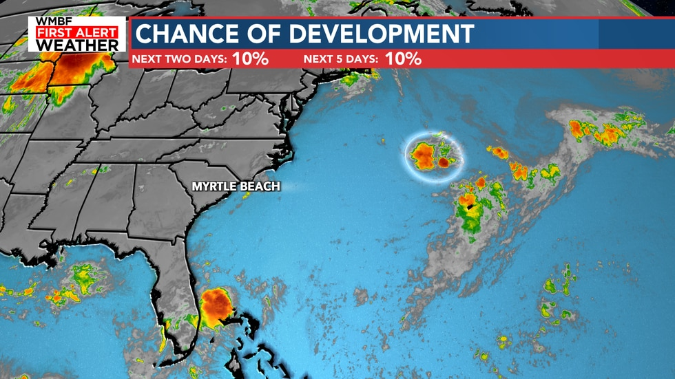One very small chance of development continues where the dust isn't.