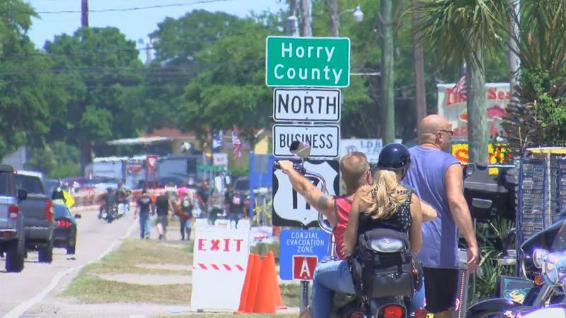 Bikers enter Horry County during the Spring Bike rally. Many vendors are relying on extra...
