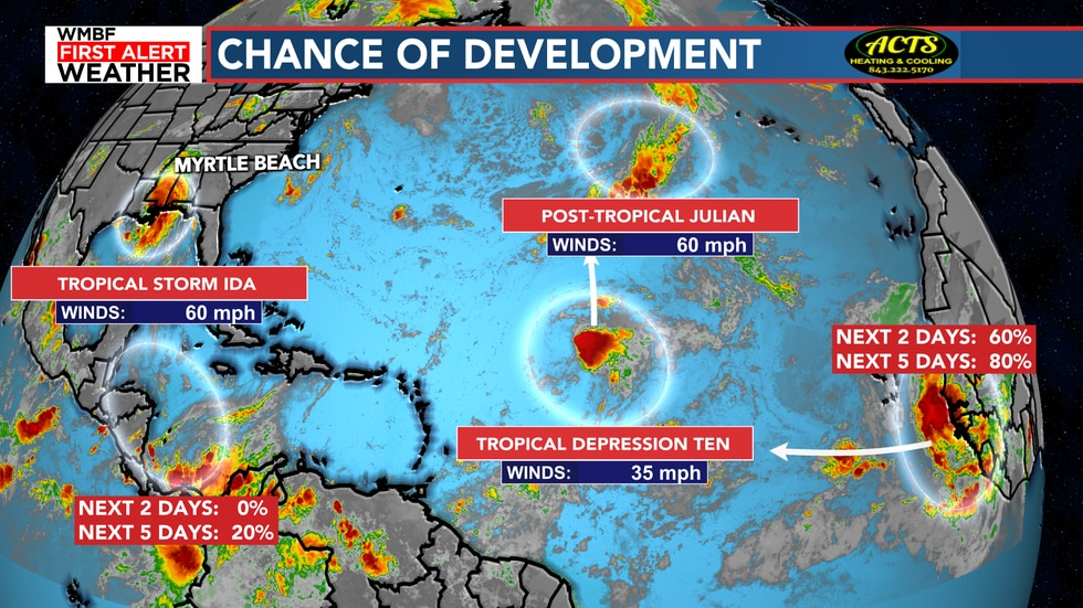 Tons of activity in the tropics right now.