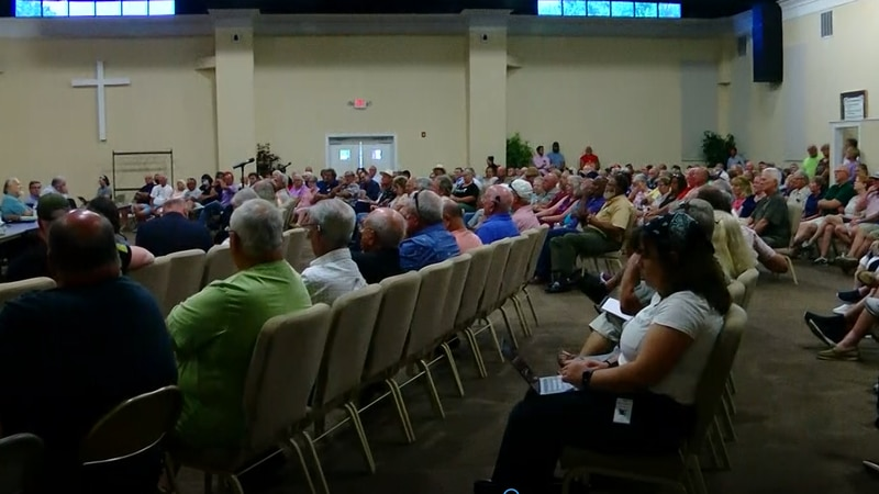 Every seat at Tilly Swamp Baptist Church was full as Highway 90 residents addressed a panel of...