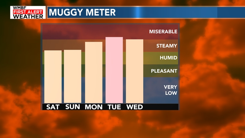 Here's a look at the forecast as the muggy meter only goes up!