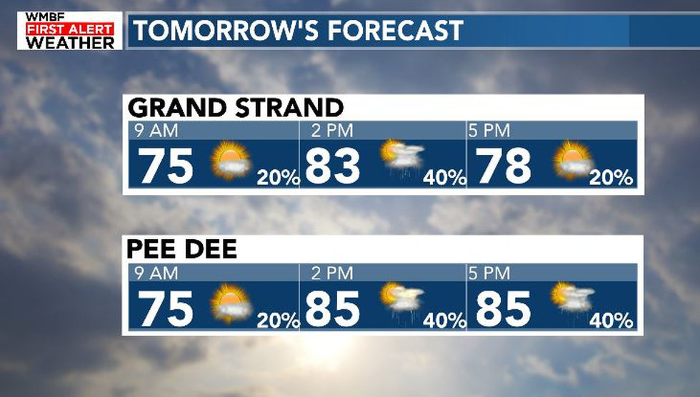 Showers will become more likely throughout tomorrow afternoon.