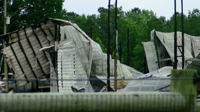 A fire destroyed a first responder's barn where he keeps equipment for his fencing business.