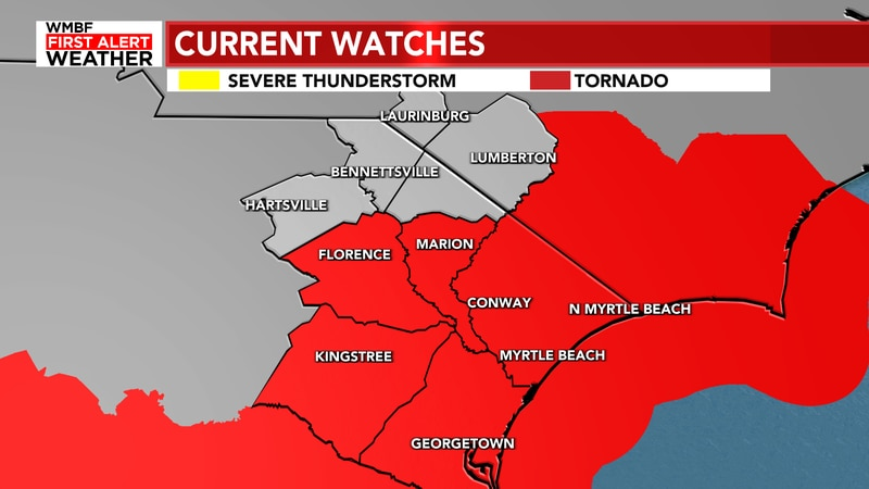 A Tornado Watch has been issued as Elsa moves into the area.