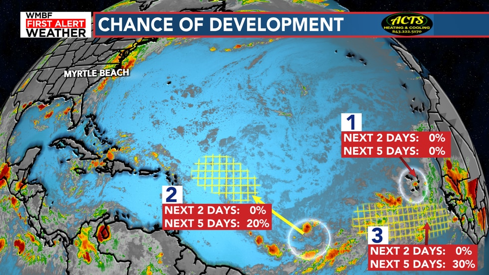 Multiple chances of development will continue over the next five days.