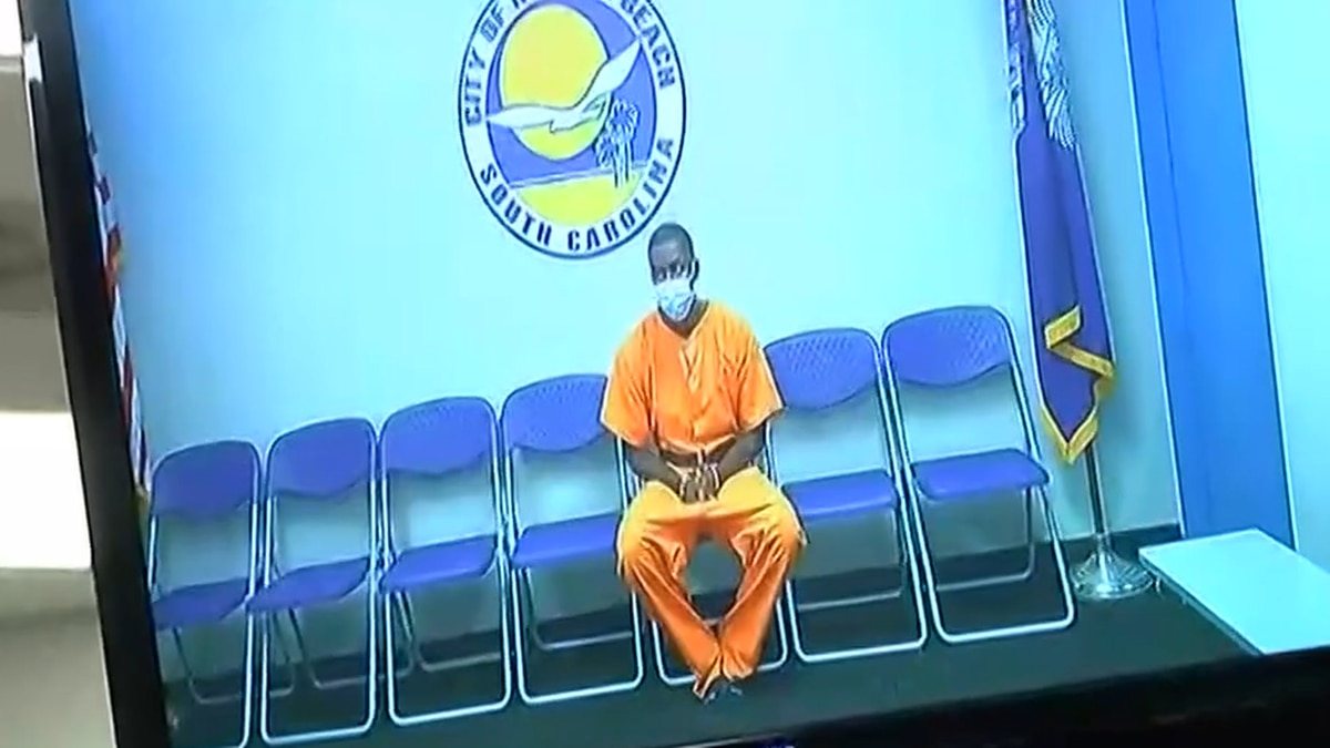 Kyree Brown appears via video for his bond hearing after he was accused of taking part in a...