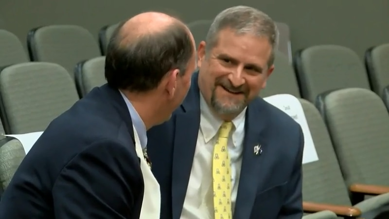 Horry County Administrator Chris Eldridge, right, is seen at a recent county council meeting....