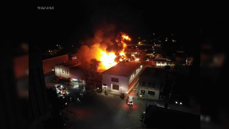 A pair of buildings were damaged as a result of a fire late Friday in downtown Darlington,...