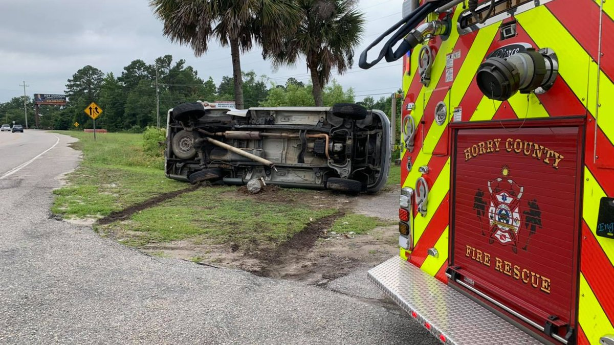 A light pole was taken out during a crash Friday afternoon on S.C. 544.