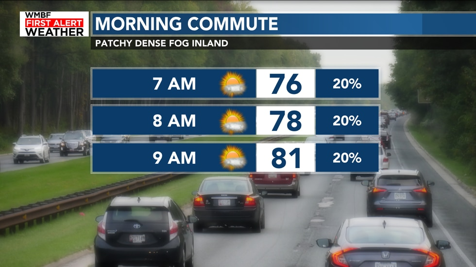 Here's a look at the morning commute. Patchy dense fog continues inland to start the day.