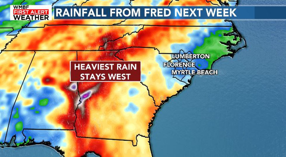 Fred's heaviest rainfall will likely stay west of the area early next week.
