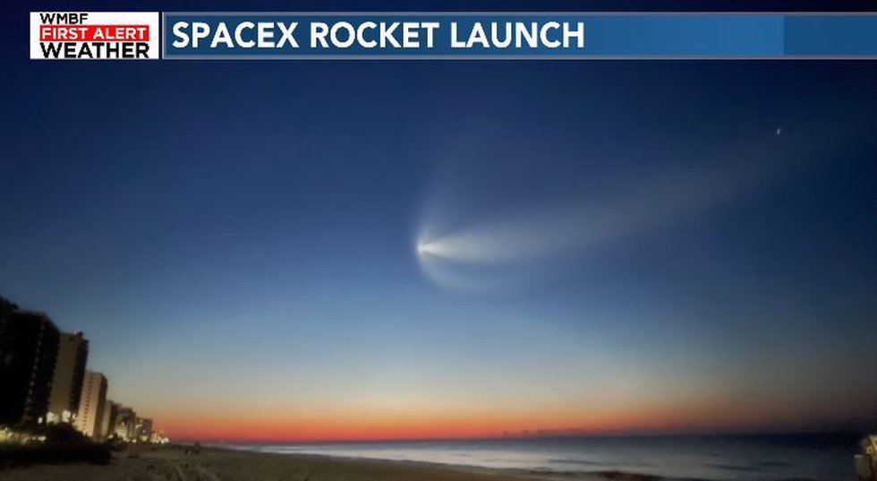 Previous SpaceX launches have provided a brilliant view across the Grand Strand like this one...