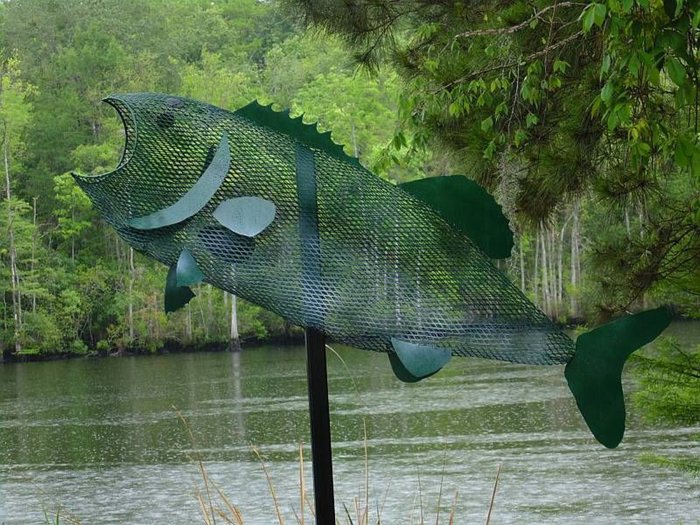 Image of the fish before it was stolen and vandalized. Source: HCPD