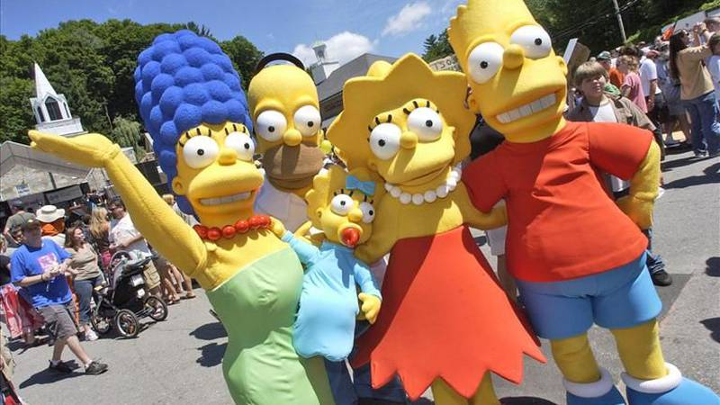 """Characters from The Simpsons pose before the premiere of """"The Simpsons Movie"""", Springfield,..."""