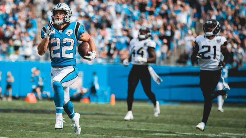 Christian McCaffrey scores three touchdowns helping lead the Carolina Panthers past the...