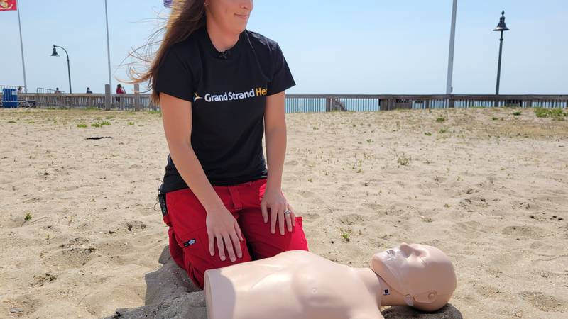 Chrissie Catlla from Grand Strand Medical Center shows how to administer CPR