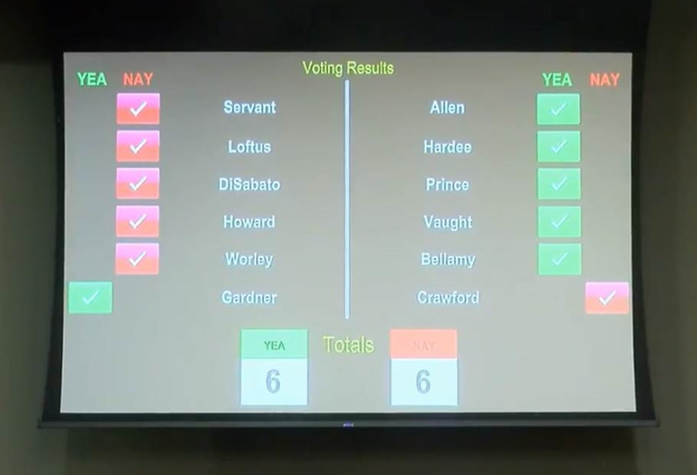 Voting results following motion to fire Horry County administrator (Source: WMBF News)