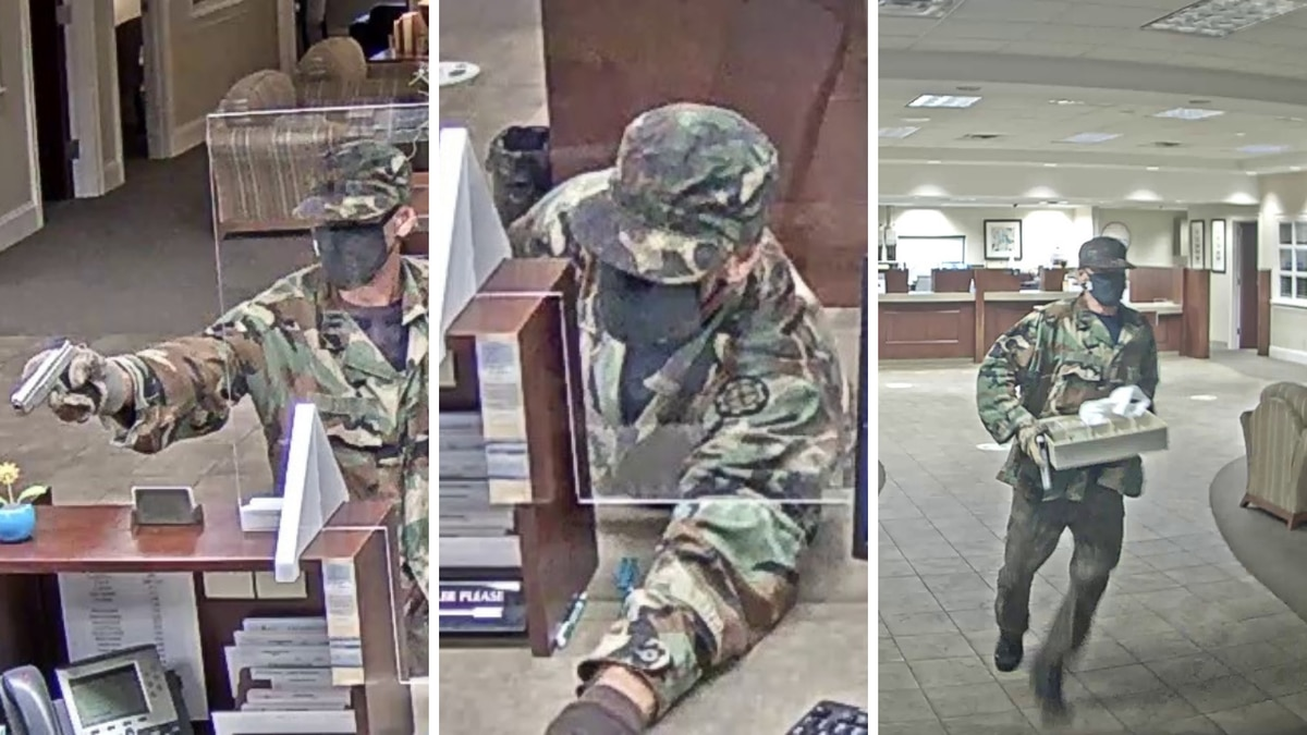 Florence police released surveillance pictures of the suspect wanted in a bank robbery at...