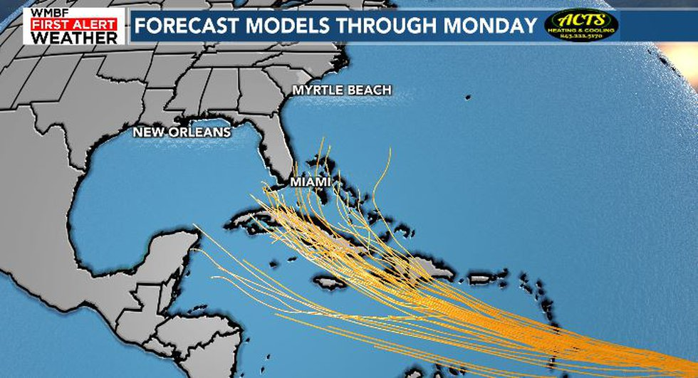 Models for what will become tropical storm Elsa.