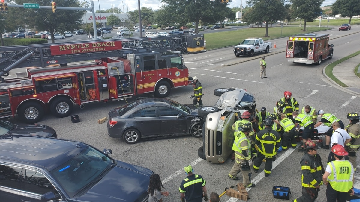 Crews were on the scene of a two-vehicle crash in Myrtle Beach on Wednesday.